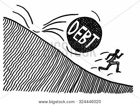 Freehand pen drawing of a business man trying to run away from a big rolling DEBT sphere which will crush him. Metaphor for bankruptcy, burden of taxpayer, loan, credit crisis, failure, fear, danger. stock photo
