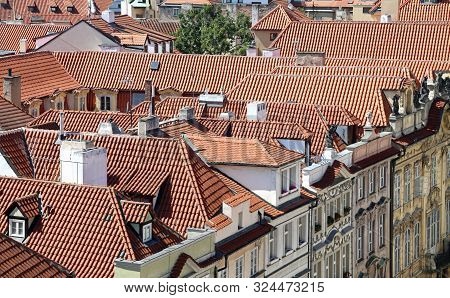 View from above of Prague City in Czech Republic and many ancient palaces stock photo