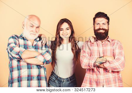 Choosing life partner. Senior mature bearded men competitors. She likes mature partner. Men and female threesome. Relations group people. Girl pretty adorable woman prefer more experienced partner stock photo
