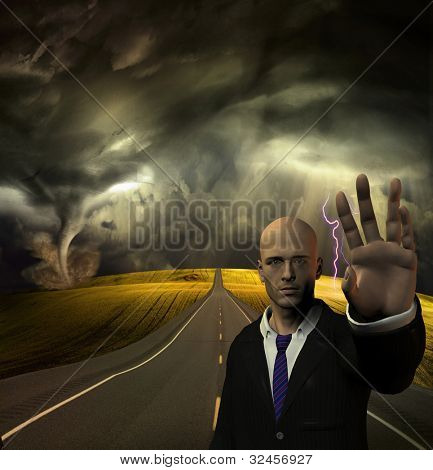 Man puts hand out to stop before tornado and storm stock photo