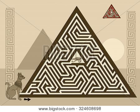 Logical puzzle game with labyrinth for children and adults. Find the way in pyramid to ancient Egyptian treasure. Printable worksheet for kids brain teaser book. IQ test. Vector image. stock photo