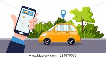 Car sharing service concept. Telephone with online app, businessman and yellow car. Green environment. Online map and car rental, GPS, mobile application. Vector flat illustration. stock photo