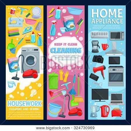House cleaning service, professional home clean, laundry and sewing housework. Vector housewife cleaning items, washing machine and vacuum cleaner, kitchen home appliances and household electronics stock photo