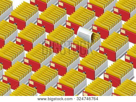 Archive. Folder in the archives. Drawer with folders for files. Isometric archive. Archive documents. Archival document. Database. Open card catalog. Vector illustration Eps10 file stock photo