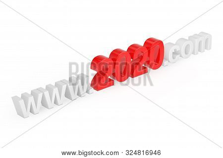 2020 New Year Concept. WWW 2020 Com Site Name on a white background. 3d Rendering stock photo