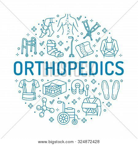 Orthopedic, trauma rehabilitation circle poster with vector line icons. Crutches, mattress pillow, walkers, ergonomic shoes, chiropractic. Health care thin linear signs for osteopath clinic, hospital stock photo