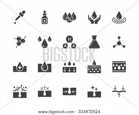 Skin care flat glyph icons set. Hyaluronic acid drop, serum, anti ageing compound retinol, pore tighten vector illustrations. Signs cosmetic product label. Silhouette pictogram pixel perfect 64x64 stock photo