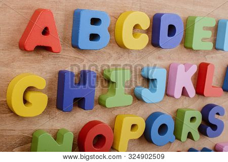 Colorful Letters of Alphabet made of wood stock photo