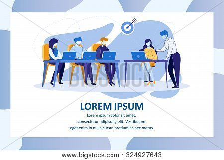 Group of Students Sitting in Classroom Watching on Laptop Monitors Gain Education, Teacher Speaking at Desk Teaching Course or Seminar for Scholars. Cartoon Flat Vector Illustration, Horizontal Banner stock photo