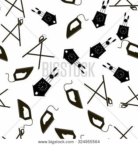 Vector icon black iron, clock with cuckoo and ironing board. Home Appliances vector seamless pattern on a white background. stock photo
