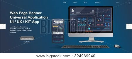 Adapted Application - data analysis,management app, analysis data and Investment for Computer and smartphone. Business app with graph and analytics. Web page banner for presentation. Vector image stock photo