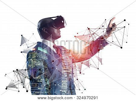 African businessman wearing VR headset using futuristic interface. Mixed media with 3d objects. Business model simulation and management. Mixed media with 3d objects. Social network connection model stock photo