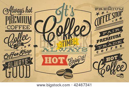 Café-restaurant des étiquettes avec rétro vintage style design.