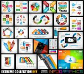 Extreme Collection of 25 quality Infographics foundation. A variety of layouts prepared to disp