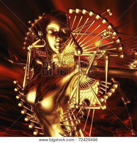 Digital 3D Rendering of a female Cyborg stock photo