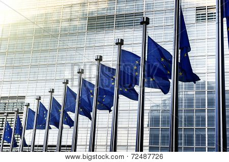 EU flags in front of European Commission in Brussels Belgium stock photo