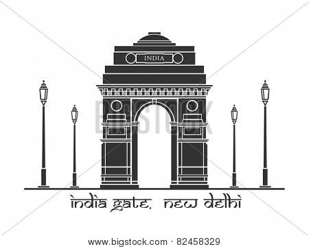 An illustration of India Gate in New Delhi, India stock photo