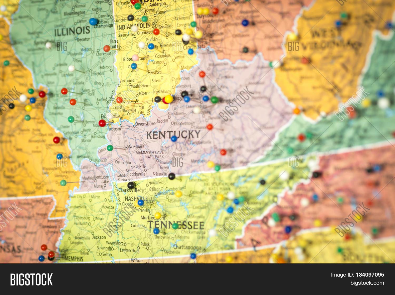 Colorful Detail Map Macro Close Up With Push Pins Marking - Us-map-close-up