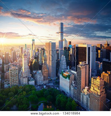 New York City Central Park at sunrise. New York background. New York City sunrise. New York Manhatta