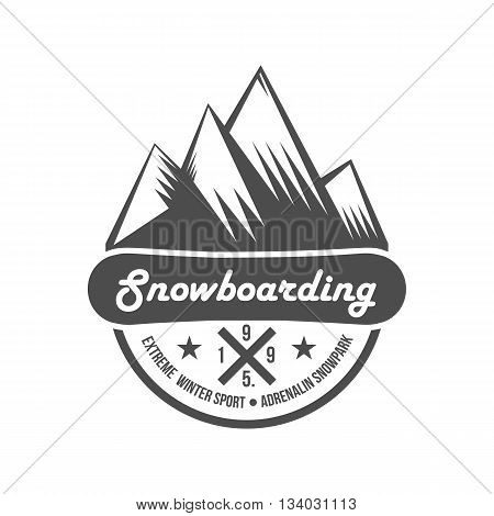 Mountain adventure and travel retro emblem. Black and white mountain shield. Camping badges travel logo emblem label graphics badge camping mountain adventure explorer equipment vintage.