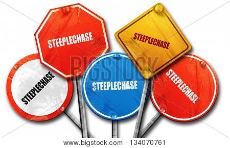 Steeplechase sign background, 3D rendering, rough street sign co stock photo