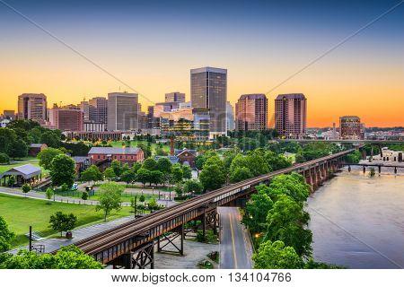 Richmond, Virginia, USA downtown skyline. stock photo