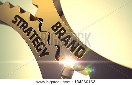 Brand Strategy on the Golden Gears. Brand Strategy - Technical Design. Brand Strategy - Illustration with Glowing Light Effect. Brand Strategy Golden Metallic Gears. 3D.