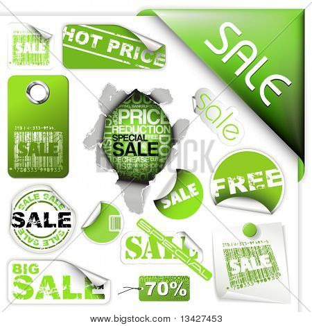 Set of green sale tickets, labels, stamps, stickers, corners, tags stock photo