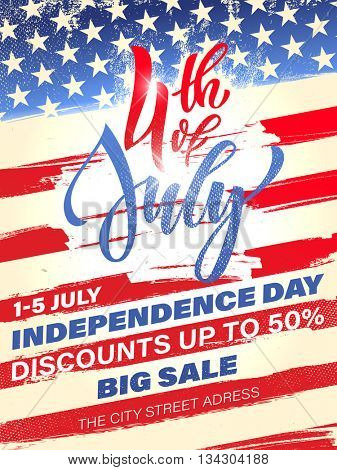 Fourth of July USA Independence Day greeting card. 4 July America celebration Big Sale poster flyer.