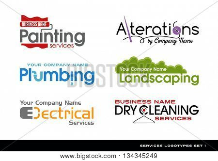 Set of logos logotypes for various services. plumbing, electrical, alterations, landscaping, painting and dry cleaning. stock photo