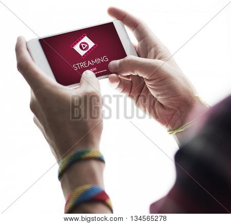 Streaming Audio Video Listening Multimedia Concept stock photo