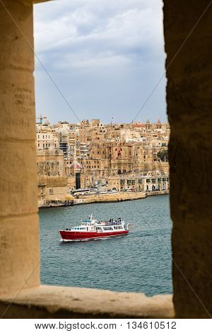 View of Valletta inside of watch tower at Gardjola Gardens Fort San Michael Senglea on the Malta island stock photo