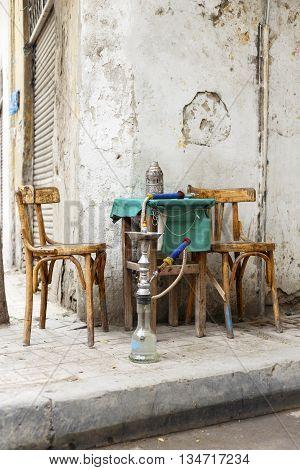 Street Cafe Egypt. old cairo street cafe. stock photo