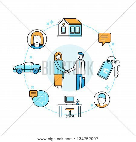 Vector illustration in trendy flat linear style - sharing economy and collaborative consumption concept and infographic design elements - peer to peer lending and renting - carsharing coworking coliving stock photo