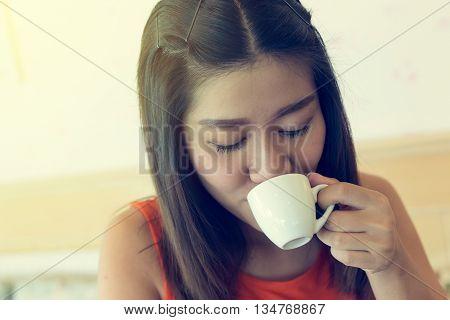 female drinking hot coffee in cafe beautiful asian women model stock photo