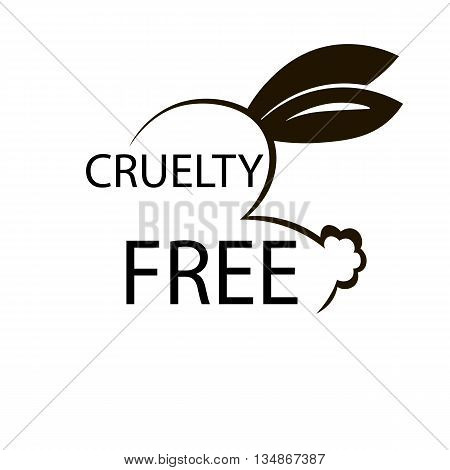 Animal cruelty free icon design. Animal cruelty free symbol design. Product not tested on animals sign with bunny rabbit. Vector illustration.