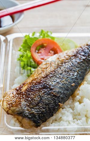 close up grilled fish a saba shioyaki stock photo