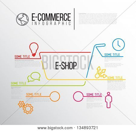 Vector e-commerce e-shop infographic report template made from lines and icons - nice infographic template for eshop, ecommerce and online business. stock photo