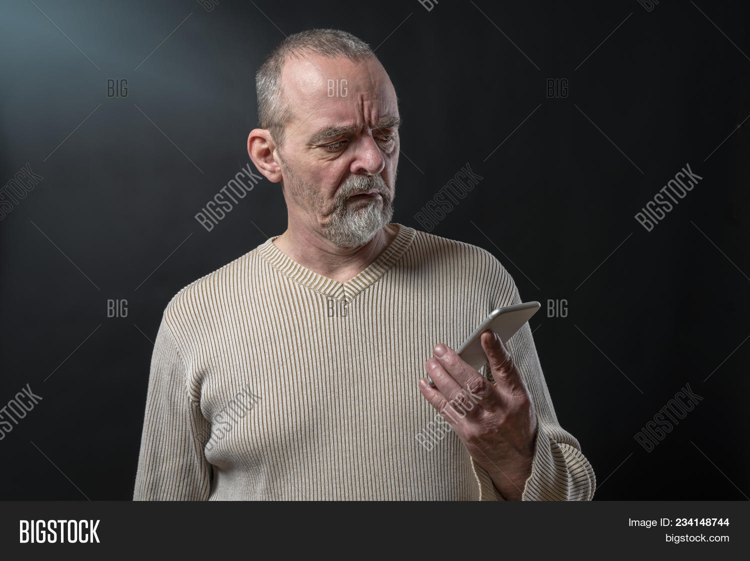 Old Man Does Not Understand His Smart Phone 234148744 Image