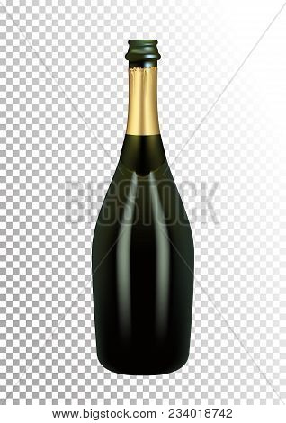 3D Realism. Vector illustration of opened bottle of champagne or sparkling wine in photorealistic style. A realistic object on a transparent background. stock photo
