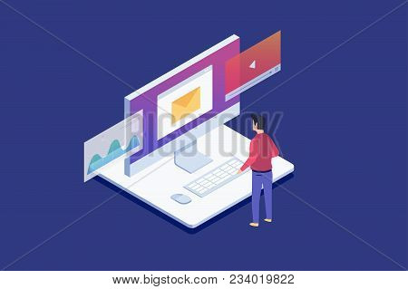 Man standing looks at Lcd monitor. Data analysis, checking email, watching video files.Digital technologies, computer device. 3d isometric flat design. Vector illustration. stock photo