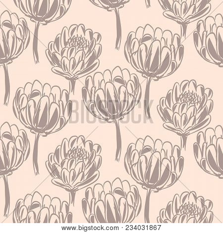 Protea flower simple seamless vector pattern. Pastel color floral background. stock photo