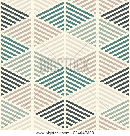 Seamless pattern with hatched diamonds. Scale wallpaper. Rhombuses and lozenges motif. Repeated geometric figures abstract background. Modern style digital paper, textile print, page fill. Vector art stock photo
