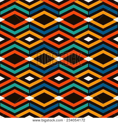 Ethnic and tribal style bright seamless surface pattern with rhombuses and lines. Diamonds motif. Repeated geometric figures abstract background. Ornamental digital paper, textile print. Vector art stock photo