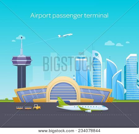 Airport passenger terminal, runway with airplanes, building, surrounding area. Airport work, planes preparing for flight, loading and taking off planes in sky. Vector illustration. stock photo