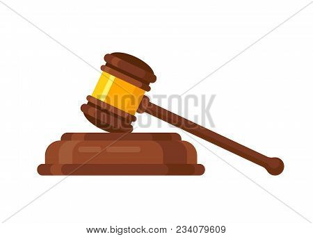 Wooden judge ceremonial hammer of the chairman, for adjudication of sentences and bills, court, justice, with a wooden stand. Vector illustration isolated. stock photo