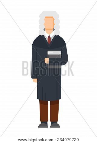 Man character is judge in the court building, with a book in his hands, civil and criminal cases, a public court, compliance with the law, justice, sentencing, tribunal. Vector illustration isolated. stock photo