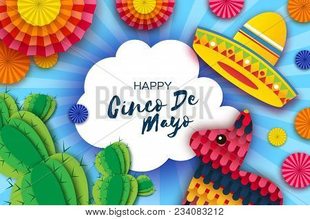 Happy Cinco de Mayo Greeting card. Colorful Paper Fan, Funny Pinata and Cactus in paper cut style. Origami Sombrero hat. Mexico, Carnival. Cloud frame on sky blue. Space for text. Vector. stock photo