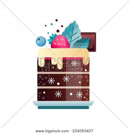 Tasty dessert decorated with cream, piece of chocolate, leaves, ripe strawberry and blueberry. Delicious chilled cake on plate. Colorful icon with gradients and texture. Isolated flat vector design. stock photo