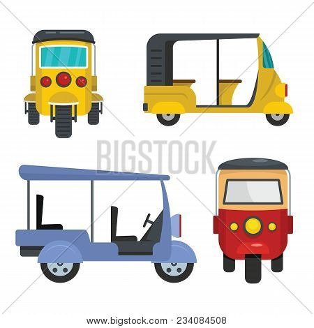 Tuk rickshaw Thailand icons set. Flat illustration of 4 tuk rickshaw Thailand vector icons for web stock photo